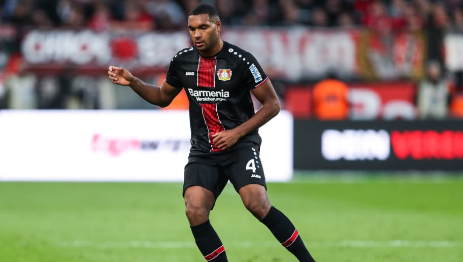 LEVERKUSEN, GERMANY - NOVEMBER 03: Jonathan Tah #4 of Bayer Leverkusen controls the ball during the Bundesliga match between Bayer 04 Leverkusen and TSG 1899 Hoffenheim at BayArena on November 3, 2018 in Leverkusen, Germany. (Photo by Maja Hitij/Bongarts/Getty Images)