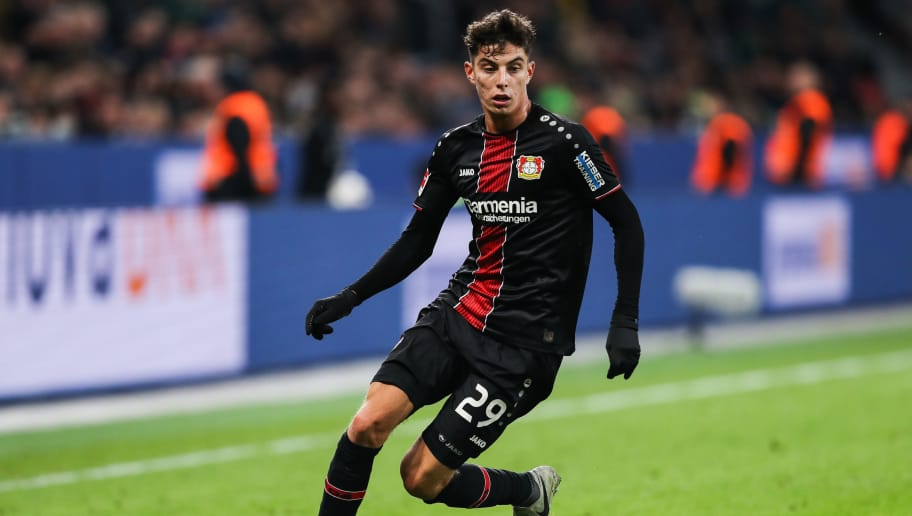 LEVERKUSEN, GERMANY - NOVEMBER 03: Kai Havertz #29 of Bayer Leverkusen controls the ball during the Bundesliga match between Bayer 04 Leverkusen and TSG 1899 Hoffenheim at BayArena on November 3, 2018 in Leverkusen, Germany. (Photo by Maja Hitij/Bongarts/Getty Images)