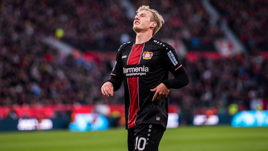 LEVERKUSEN, GERMANY - NOVEMBER 03: Julian Brandt of Leverkusen reacts during the Bundesliga match between Bayer 04 Leverkusen and TSG 1899 Hoffenheim at BayArena on November 03, 2018 in Leverkusen, Germany. (Photo by Lukas Schulze/Getty Images)