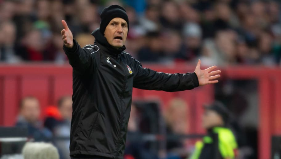 LEVERKUSEN, GERMANY - NOVEMBER 03: Head coach Heiko Herrlich of Bayer 04 Leverkusen gestures during the Bundesliga match between Bayer 04 Leverkusen and TSG 1899 Hoffenheim at BayArena on November 3, 2018 in Leverkusen, Germany. (Photo by TF-Images/Getty Images)