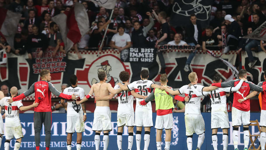 LEVERKUSEN, GERMANY - APRIL 28: Players of Stuttgart celebrate in front of their supporters, after the Bundesliga match between Bayer 04 Leverkusen and VfB Stuttgart at BayArena on April 28, 2018 in Leverkusen, Germany. (Photo by Christof Koepsel/Bongarts/Getty Images)