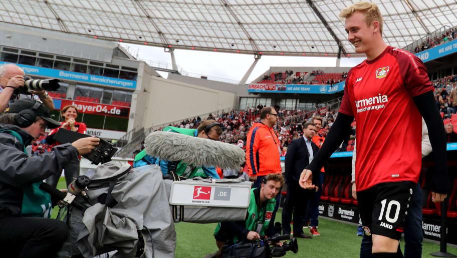LEVERKUSEN, GERMANY - APRIL 28: Julian Brandt of Leverkusen is seen prior to the Bundesliga match between Bayer 04 Leverkusen and VfB Stuttgart at BayArena on April 28, 2018 in Leverkusen, Germany. The match between Leverkusen and Stuttgart ended 0-1. (Photo by Christof Koepsel/Bongarts/Getty Images)