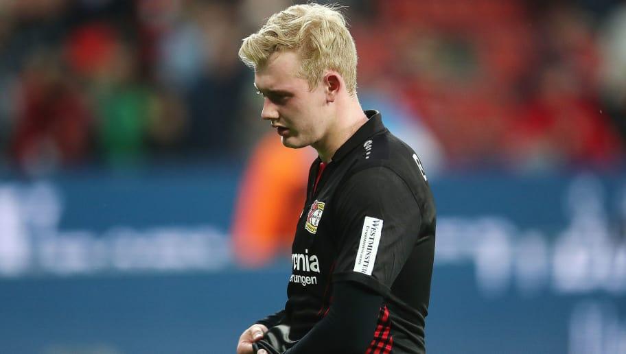 LEVERKUSEN, GERMANY - APRIL 28: Julian Brandt of Bayer Leverkusen looks dejected after the Bundesliga match between Bayer 04 Leverkusen and VfB Stuttgart at BayArena on April 28, 2018 in Leverkusen, Germany. (Photo by Christof Koepsel/Bongarts/Getty Images)