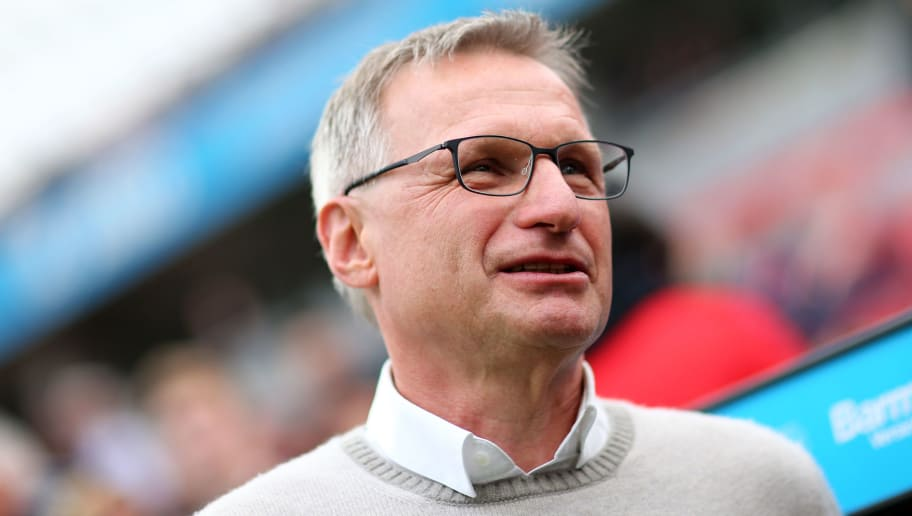 LEVERKUSEN, GERMANY - APRIL 28: Sporting director Michael Reschke of Stuttgart is seen prior to the Bundesliga match between Bayer 04 Leverkusen and VfB Stuttgart at BayArena on April 28, 2018 in Leverkusen, Germany. The match between Leverkusen and Stuttgart ended 0-1. (Photo by Christof Koepsel/Bongarts/Getty Images)