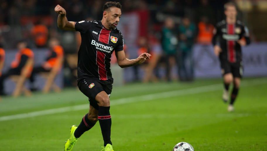 LEVERKUSEN, GERMANY - NOVEMBER 23: Karim Bellarabi of Leverkusen controls the ball during the Bundesliga match between Bayer 04 Leverkusen and VfB Stuttgart at BayArena on November 23, 2018 in Leverkusen, Germany. (Photo by TF-Images/Getty Images)