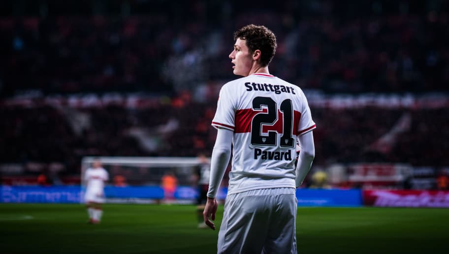 LEVERKUSEN, GERMANY - NOVEMBER 23: (EDITORS NOTE: Image has been digitally enhanced.) Benjamin Pavard of Stuttgart holds the ball during the Bundesliga match between Bayer 04 Leverkusen and VfB Stuttgart at BayArena on November 23, 2018 in Leverkusen, Germany. (Photo by Lukas Schulze/Getty Images)
