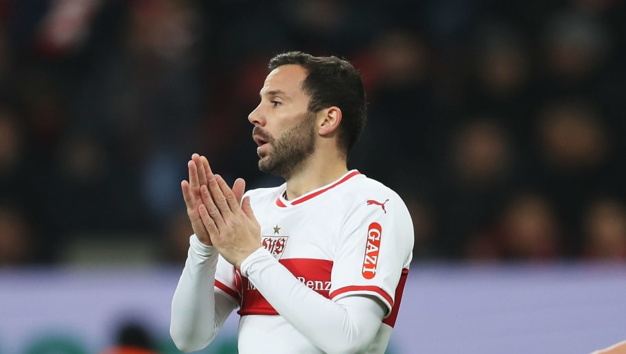 LEVERKUSEN, GERMANY - NOVEMBER 23:  Gonzalo Castro of VfB Stuttgart reacts to a missed chance on goal during the Bundesliga match between Bayer 04 Leverkusen and VfB Stuttgart at BayArena on November 23, 2018 in Leverkusen, Germany.  (Photo by Maja Hitij/Bongarts/Getty Images)