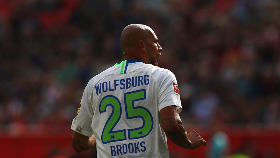 LEVERKUSEN, GERMANY - SEPTEMBER 01:  John Brooks of VfL Wolfsburg in action during the Bundesliga match between Bayer 04 Leverkusen and VfL Wolfsburg at BayArena on September 1, 2018 in Leverkusen, Germany.  (Photo by Dean Mouhtaropoulos/Bongarts/Getty Images)