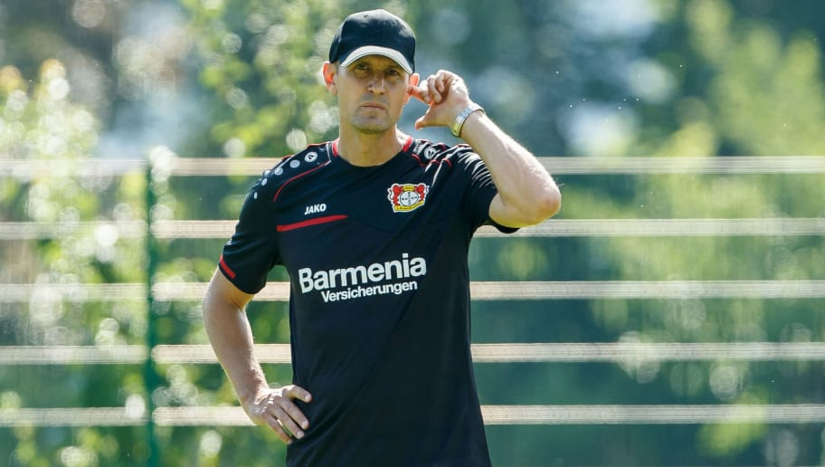 ZELL AM SEE, AUSTRIA - JULY 30: Head coach Heiko Herrlich of Bayer Leverkusen looks on during the Bayer Leverkusen training camp on July 30, 2018 in Zell am See, Austria. (Photo by TF-Images/Getty Images)