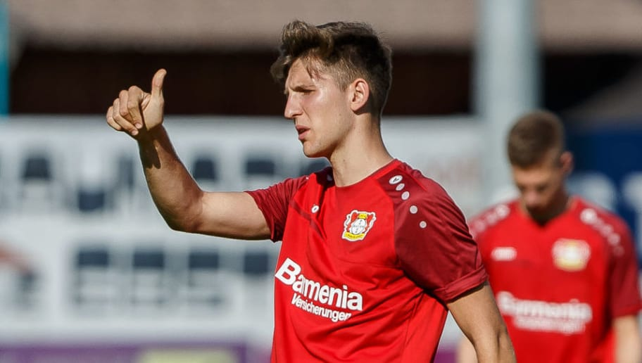 ZELL AM SEE, AUSTRIA - JULY 31: Panagiotis Retsos of Leverkusen gestures during the Bayer Leverkusen training camp on July 31, 2018 in Zell am See, Austria. (Photo by TF-Images/Getty Images)