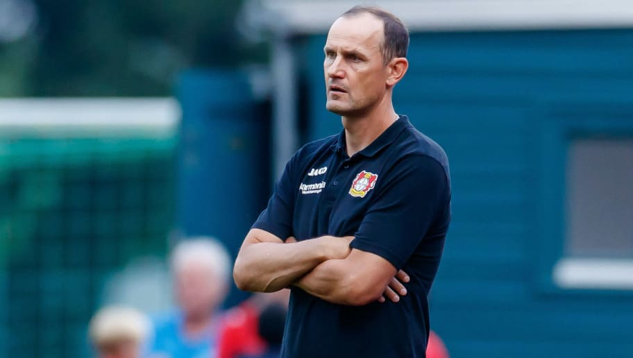 ZELL AM SEE, AUSTRIA - AUGUST 02: Head coach Heiko Herrlich of Bayer Leverkusen looks on during the friendly match between Bayer Leverkusen and Istanbul Basaksehir F.K on August 2, 2018 in Zell am See, Austria. (Photo by TF-Images/Getty Images)