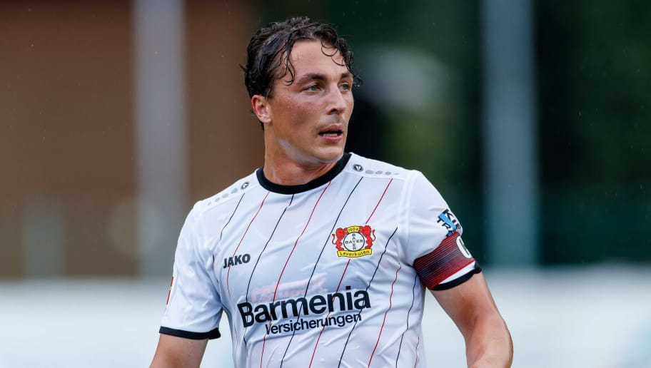 ZELL AM SEE, AUSTRIA - AUGUST 02: Julian Baumgartlinger of Bayer Leverkusen looks on during the friendly match between Bayer Leverkusen and Istanbul Basaksehir F.K on August 2, 2018 in Zell am See, Austria. (Photo by TF-Images/Getty Images)
