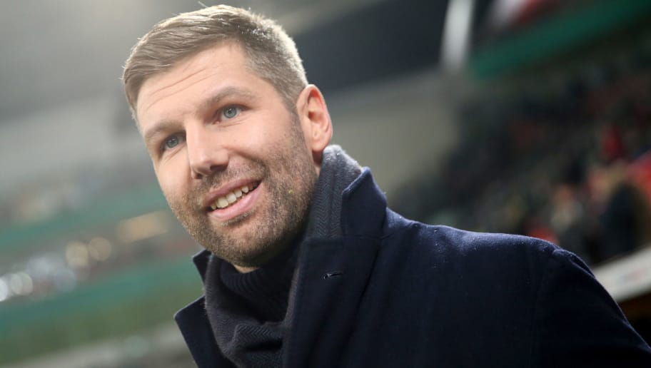 LEVERKUSEN, GERMANY - FEBRUARY 06: Thomas Hitzlsberger looks on prior to the DFB Cup quarter final match between Bayer Leverkusen and Werder Bermen at BayArena on February 6, 2018 in Leverkusen, Germany. The match between Leverkusen and Bremen ended 4-2 after extra time. (Photo by Christof Koepsel/Bongarts/Getty Images)