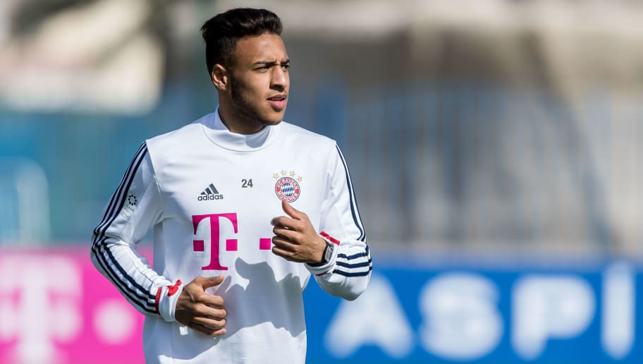 DOHA, QATAR - JANUARY 07: Corentin Tolisso of Muenchen runs during the FC Bayern Muenchen training camp at Aspire Academy on January 07, 2018 in Doha, Qatar. (Photo by TF-Images/TF-Images via Getty Images)