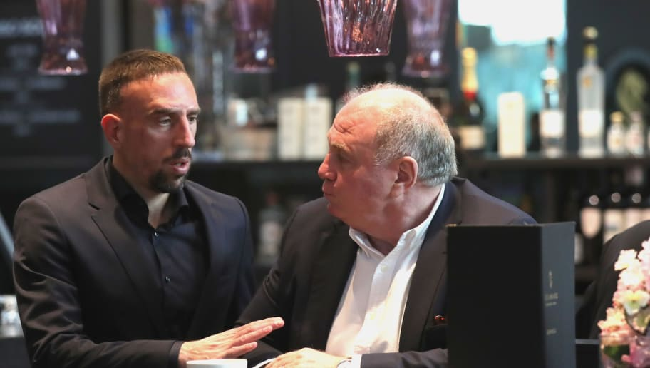 MUNICH, GERMANY - MARCH 13:  Ulli Hoeness, President of FC Bayern Muenchen arrives with Franck Ribery at Munich international airport 'Franz Josef Strauss' prior their team flight for the UEFA Champions League Round of 16 Second Leg match against Besiktas Istanbul on March 13, 2018 in Munich, Germany.  (Photo by Alexander Hassenstein/Bongarts/Getty Images)