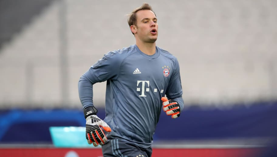 ATHENS, GREECE - OCTOBER 22:  Manuel Neuer, keeper of FC Bayern Muenchen during a training session ahead of their UEFA Champions League Group E match against AEK Athens at Athens Olympic Stadium on October 22, 2018 in Athens, Greece.  (Photo by Alexander Hassenstein/Bongarts/Getty Images)