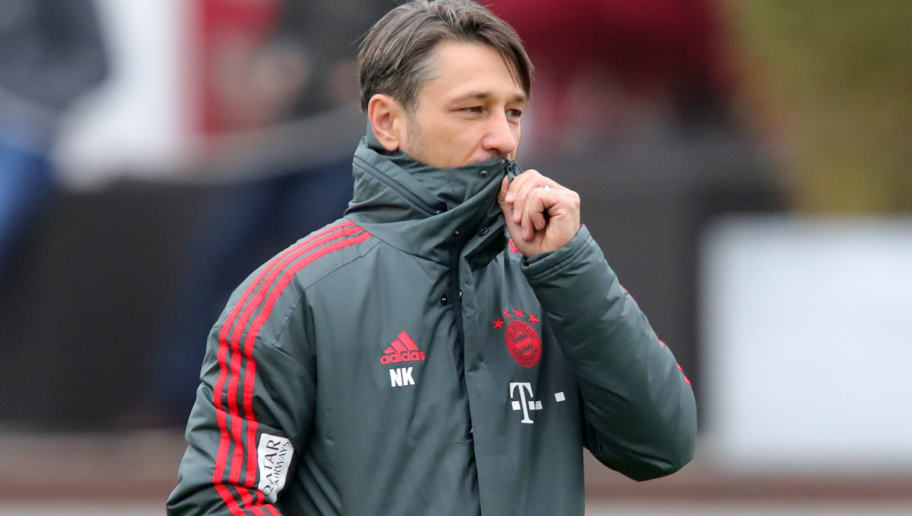 MUNICH, GERMANY - NOVEMBER 04:  Niko Kovac, head coach of Bayern Muenchen looks on during a Bayern Muenchen training session at Saebener Strasse training ground  on November 4, 2018 in Munich, Germany.  (Photo by Alexander Hassenstein/Bongarts/Getty Images)