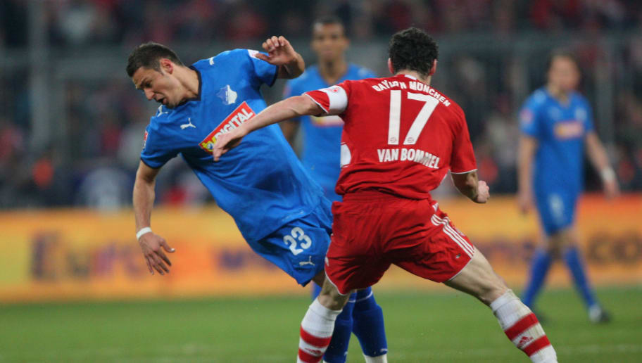 MUNICH, GERMANY - DECEMBER 05:  Sejad Salihovic of Hoffenheim is challenged by Mark Van Bommel of Bayern during the Bundesliga match between FC Bayern Muenchen and 1899 Hoffenheim at the Allianz Arena on December 5 2008 in Munich, Germany.  (Photo by Stuart Franklin/Bongarts/Getty Images)