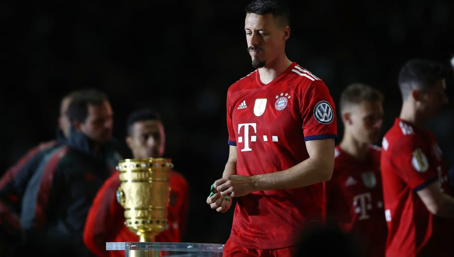 BERLIN, GERMANY - MAY 19: Sandro Wagner of Muenchen walks of the podium after he received his medal during the DFB Cup final between Bayern Muenchen and Eintracht Frankfurt at Olympiastadion on May 19, 2018 in Berlin, Germany. (Photo by Maja Hitij/Bongarts/Getty Images)