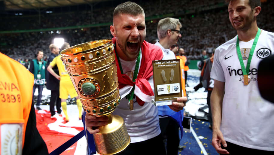 BERLIN, GERMANY - MAY 19:  Ante Rebic (L) of Eintracht Frankfurt celebrate winning the Man of the match medal and the DFB Cup final against Bayern Muenchen at Olympiastadion on May 19, 2018 in Berlin, Germany.  (Photo by Lars Baron/Bongarts/Getty Images)