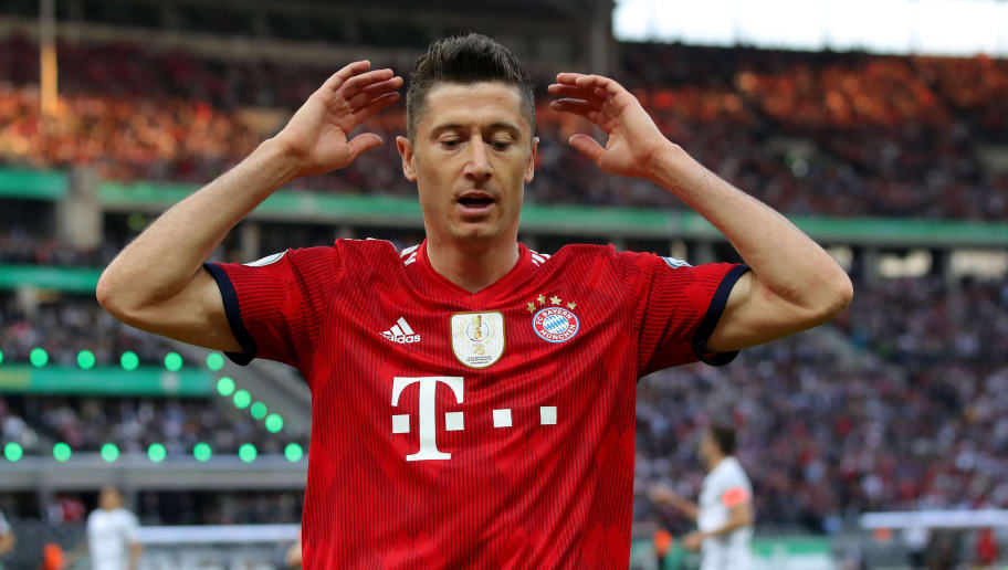 BERLIN, GERMANY - MAY 19:  Robert Lewandowski of Bayern Muenchen looks on during the DFB Cup final between Bayern Muenchen and Eintracht Frankfurt at Olympiastadion on May 19, 2018 in Berlin, Germany.  (Photo by Alexander Hassenstein/Bongarts/Getty Images)