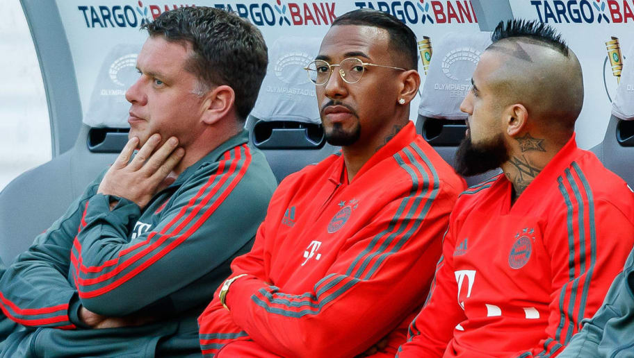 BERLIN, GERMANY - MAY 19: Jerome Boateng of Muenchen sits on the bench prior to the DFB Cup final between Bayern Muenchen and Eintracht Frankfurt at Olympiastadion on May 19, 2018 in Berlin, Germany. (Photo by TF-Images/Getty Images)