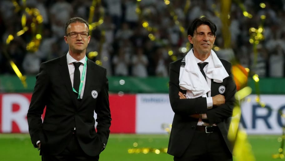BERLIN, GERMANY - MAY 19:  Eintracht Frankfurt manager Fredi Bobic and Bruno Huebner look on after wining the DFB Cup final against Bayern Muenchen at Olympiastadion on May 19, 2018 in Berlin, Germany.  (Photo by Alexander Hassenstein/Bongarts/Getty Images)