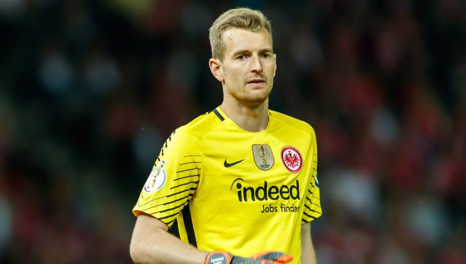 BERLIN, GERMANY - MAY 19: Goalkeeper Lukas Hradecky of Frankfurt looks on during the DFB Cup final between Bayern Muenchen and Eintracht Frankfurt at Olympiastadion on May 19, 2018 in Berlin, Germany. (Photo by TF-Images/Getty Images)