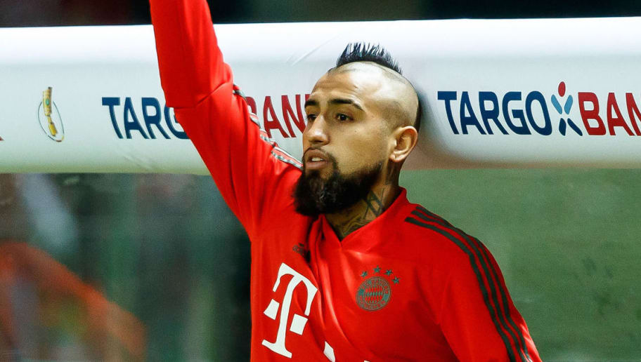 BERLIN, GERMANY - MAY 19: Arturo Vidal of Muenchen gestures during the DFB Cup final between Bayern Muenchen and Eintracht Frankfurt at Olympiastadion on May 19, 2018 in Berlin, Germany. (Photo by TF-Images/Getty Images)