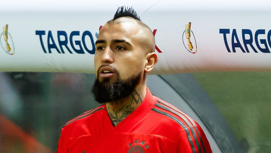 BERLIN, GERMANY - MAY 19: Arturo Vidal of Muenchen looks on during the DFB Cup final between Bayern Muenchen and Eintracht Frankfurt at Olympiastadion on May 19, 2018 in Berlin, Germany. (Photo by TF-Images/Getty Images)