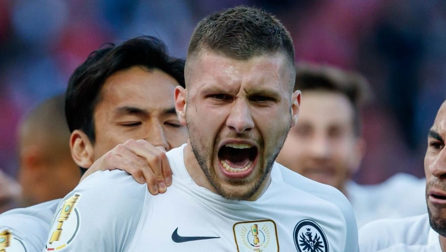 BERLIN, GERMANY - MAY 19: Ante Rebic of Frankfurt celebrates after scoring his team`s first goal with Omar Mascarell Gonzalez of Frankfurt during the DFB Cup final between Bayern Muenchen and Eintracht Frankfurt at Olympiastadion on May 19, 2018 in Berlin, Germany. (Photo by TF-Images/Getty Images)