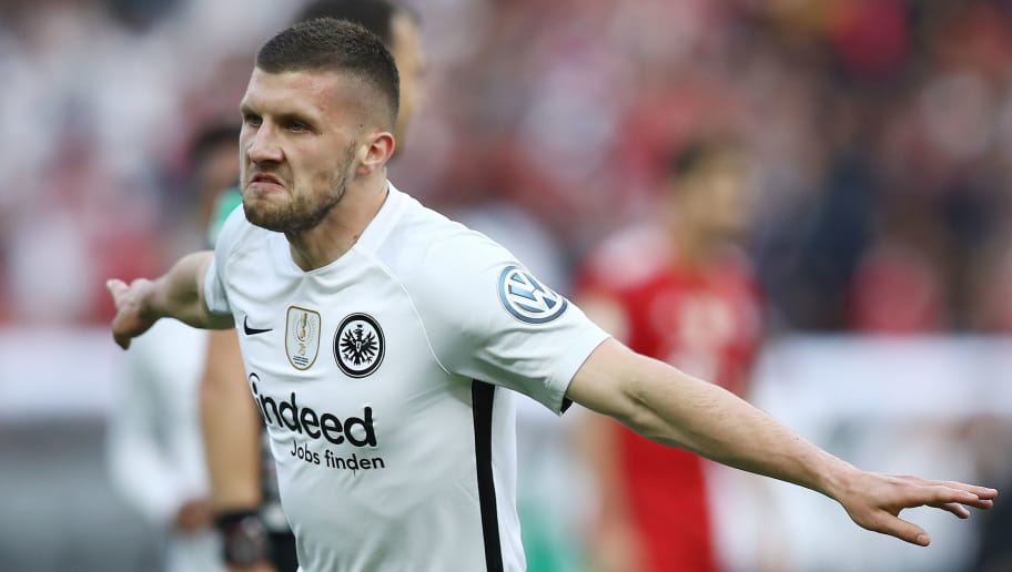 BERLIN, GERMANY - MAY 19: Ante Rebic of Frankfurt celebrates after he scored a goal to make it 0:1 during the DFB Cup final between Bayern Muenchen and Eintracht Frankfurt at Olympiastadion on May 19, 2018 in Berlin, Germany. (Photo by Maja Hitij/Bongarts/Getty Images)
