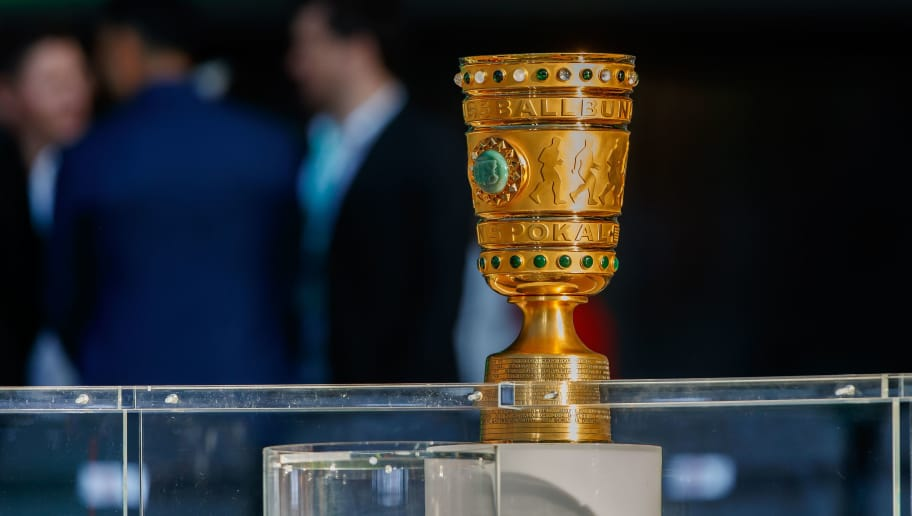 BERLIN, GERMANY - MAY 19: The trophy is seen prior to the DFB Cup final between Bayern Muenchen and Eintracht Frankfurt at Olympiastadion on May 19, 2018 in Berlin, Germany. (Photo by TF-Images/Getty Images)