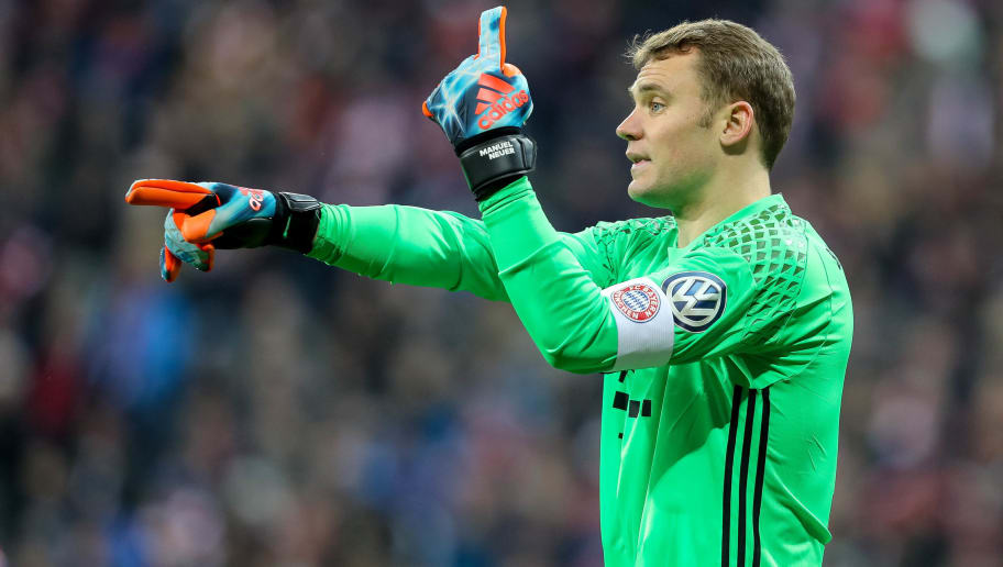 MUNICH, GERMANY - MARCH 01: Goalkeeper Manuel Neuer of Bayern Muenchen gestures during the DFB Cup quarter final between Bayern Muenchen and FC Schalke 04 at Allianz Arena on March 1, 2017 in Munich, Germany. (Photo by TF-Images/Getty Images)