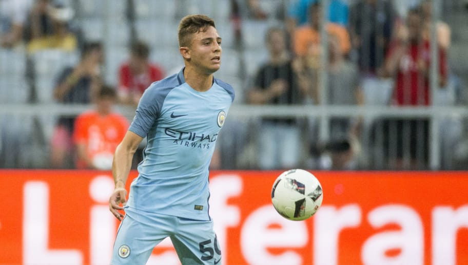 MUNICH, GERMANY - JULY 20: Pablo Maffeo of Manchester City with ball during a friendly match between Bayern Munich and Manchester City at Allianz Arena on July 20, 2016 in Munich, Germany. (Photo by Marc Mueller/Bongarts/Getty Images)