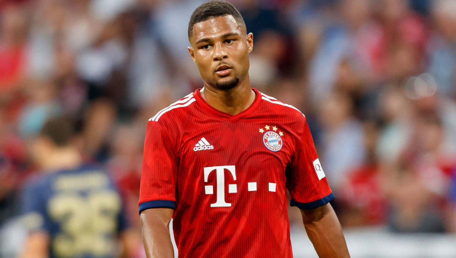 MUNICH, GERMANY - AUGUST 05: Serge Gnabry of Bayern Muenchen looks on during the friendly match between Bayern Muenchen and Manchester United at Allianz Arena on August 5, 2018 in Munich, Germany. (Photo by TF-Images/Getty Images)