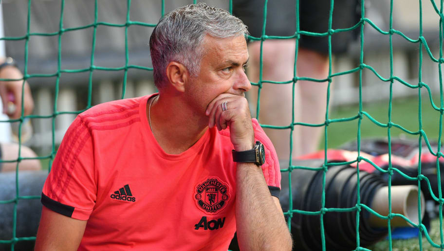 MUNICH, GERMANY - AUGUST 05: Head coach Jose Mourinho of Manchester United looks on prior to the friendly match between Bayern Muenchen and Manchester United at Allianz Arena on August 5, 2018 in Munich, Germany. (Photo by TF-Images/Getty Images)