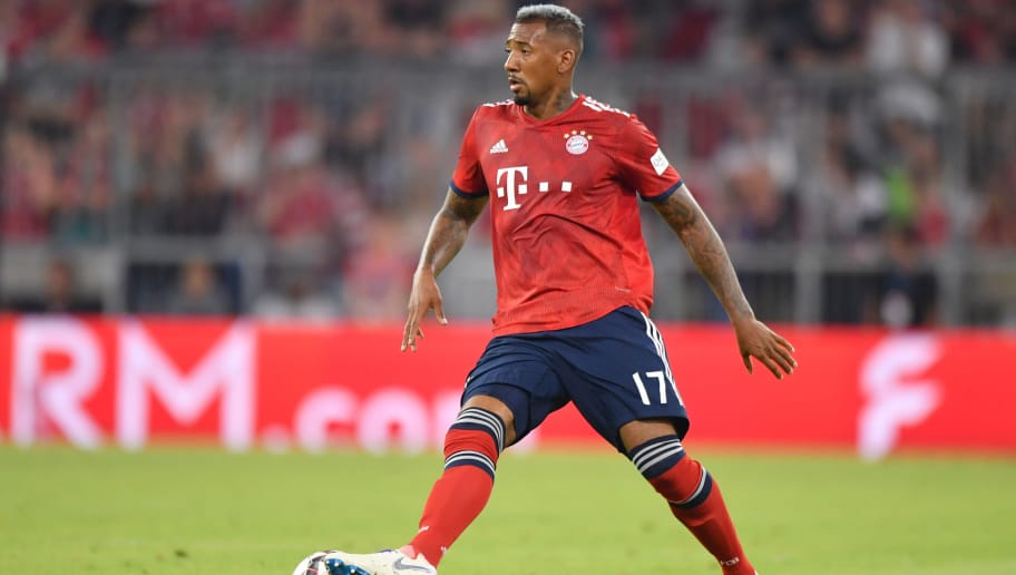 MUNICH, GERMANY - AUGUST 05: Jerome Boateng of Bayern Muenchen plays the ball during the friendly match between Bayern Muenchen and Manchester United at Allianz Arena on August 5, 2018 in Munich, Germany. (Photo by Sebastian Widmann/Bongarts/Getty Images)