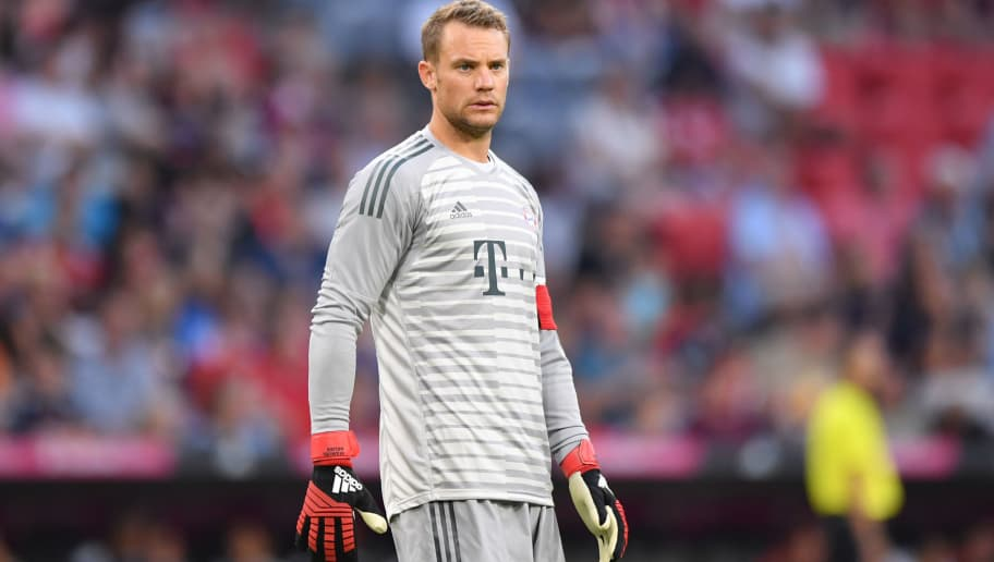 MUNICH, GERMANY - AUGUST 05: Goalkeeper Manuel Neuer of Bayern Muenchen looks on during the friendly match between Bayern Muenchen and Manchester United at Allianz Arena on August 5, 2018 in Munich, Germany. (Photo by Sebastian Widmann/Bongarts/Getty Images)