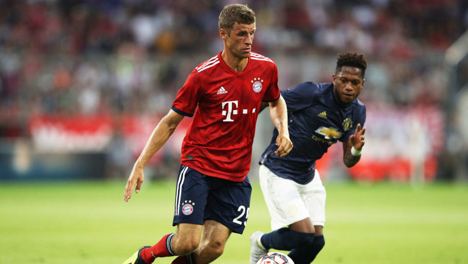 MUNICH, GERMANY - AUGUST 05:  Thomas Mueller of Bayern Munich in action during the Bayern Muenchen v Manchester United Friendly Match at Allianz Arena on August 5, 2018 in Munich, Germany.  (Photo by Adam Pretty/Bongarts/Getty Images)