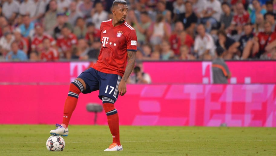 MUNICH, GERMANY - AUGUST 05: Jerome Boateng of Bayern Muenchen controls the ball during the friendly match between Bayern Muenchen and Manchester United at Allianz Arena on August 5, 2018 in Munich, Germany. (Photo by TF-Images/Getty Images)