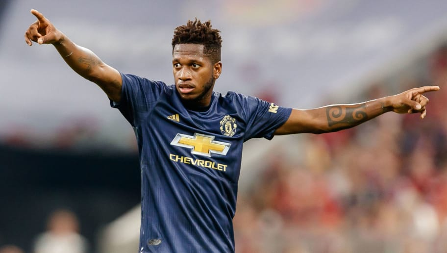 MUNICH, GERMANY - AUGUST 05: Fred of Manchester United gestures during the friendly match between Bayern Muenchen and Manchester United at Allianz Arena on August 5, 2018 in Munich, Germany. (Photo by TF-Images/Getty Images)