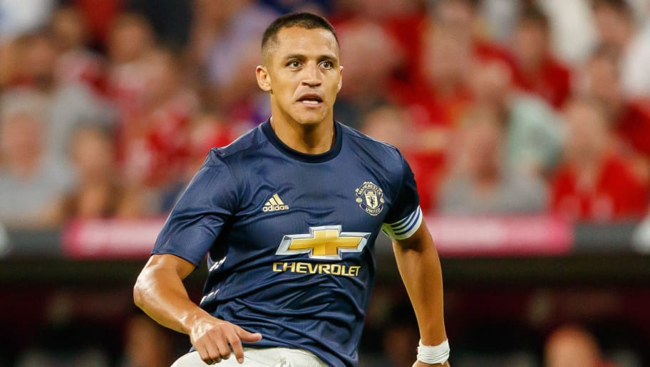 MUNICH, GERMANY - AUGUST 05: Alexis Sanchez of Manchester United looks on during the friendly match between Bayern Muenchen and Manchester United at Allianz Arena on August 5, 2018 in Munich, Germany. (Photo by TF-Images/Getty Images)