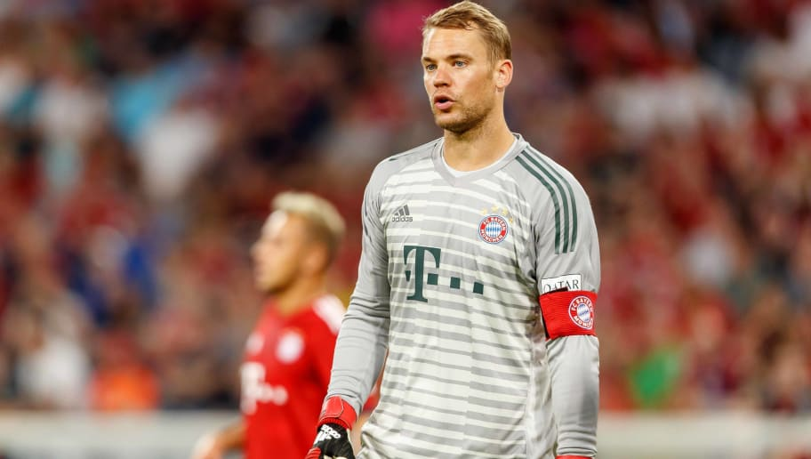 MUNICH, GERMANY - AUGUST 05: Goalkeeper Manuel Neuer of Bayern Muenchen looks on during the friendly match between Bayern Muenchen and Manchester United at Allianz Arena on August 5, 2018 in Munich, Germany. (Photo by TF-Images/Getty Images)