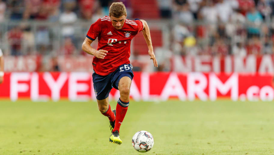 MUNICH, GERMANY - AUGUST 05: Thomas Mueller of Bayern Muenchen controls the ball during the friendly match between Bayern Muenchen and Manchester United at Allianz Arena on August 5, 2018 in Munich, Germany. (Photo by TF-Images/Getty Images)