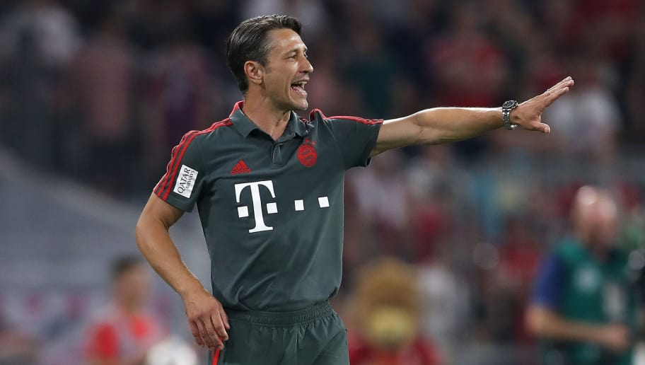MUNICH, GERMANY - AUGUST 05: Head coach Niko Kovac of Bayern Muenchen reacts during the pre-season friendly match between Bayern Munich and Manchester United at Allianz Arena on August 5, 2018 in Munich, Germany. (Photo by Christian Kaspar-Bartke/Bongarts/Getty Images)