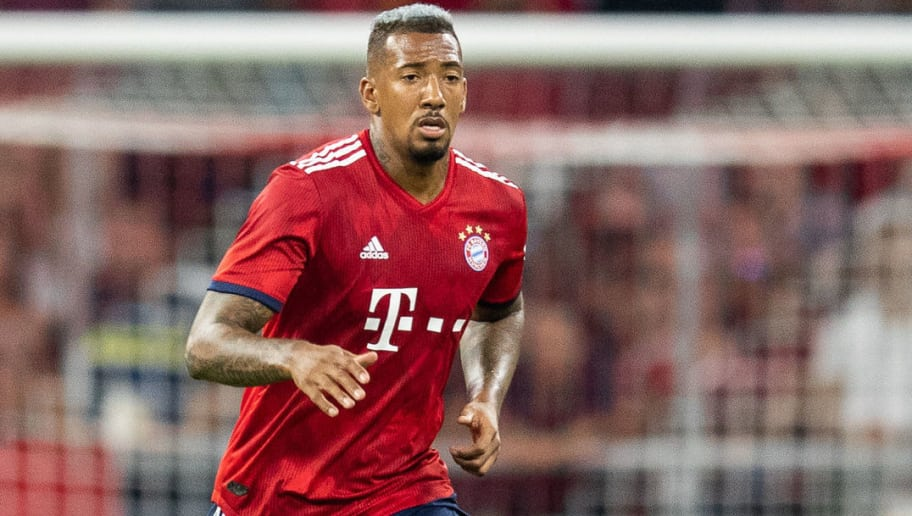 MUNICH, GERMANY - AUGUST 05: Jerome Boateng of FC Bayern Muenchen runs with the ball during the friendly match between Bayern Muenchen and Manchester United at Allianz Arena on August 5, 2018 in Munich, Germany. (Photo by Boris Streubel/Getty Images)