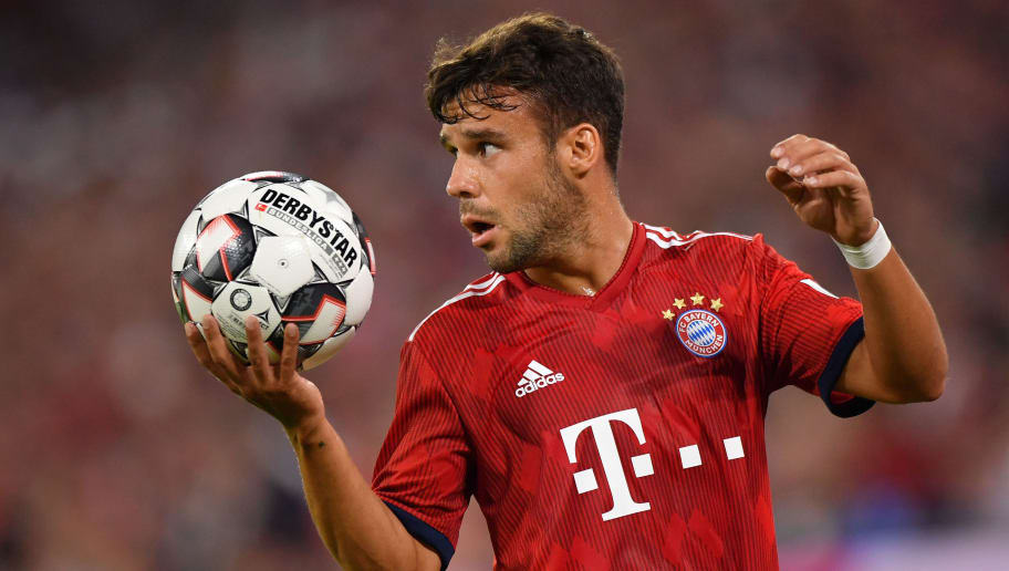 MUNICH, GERMANY - AUGUST 05: Juan Bernat of Bayern Muenchen looks on during the friendly match between Bayern Muenchen and Manchester United at Allianz Arena on August 5, 2018 in Munich, Germany. (Photo by Sebastian Widmann/Bongarts/Getty Images)
