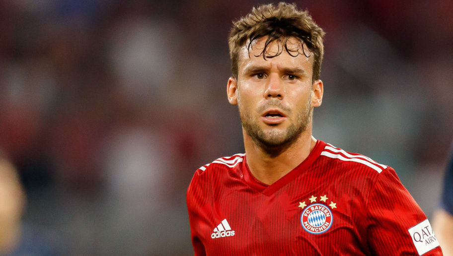 MUNICH, GERMANY - AUGUST 05: Juan Bernat of Bayern Muenchen looks on during the friendly match between Bayern Muenchen and Manchester United at Allianz Arena on August 5, 2018 in Munich, Germany. (Photo by TF-Images/Getty Images)