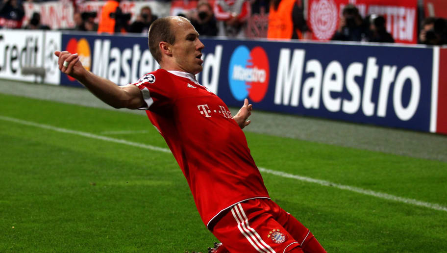MUNICH, GERMANY - APRIL 21: Arjen Robben of Bayern celebrates after scoring the opening goal during the UEFA Champions League semi final first leg match between FC Bayern Muenchen and Olympic Lyon at Allianz Arena on April 21, 2010 in Munich, Germany.  (Photo by Lars Baron/Bongarts/Getty Images)